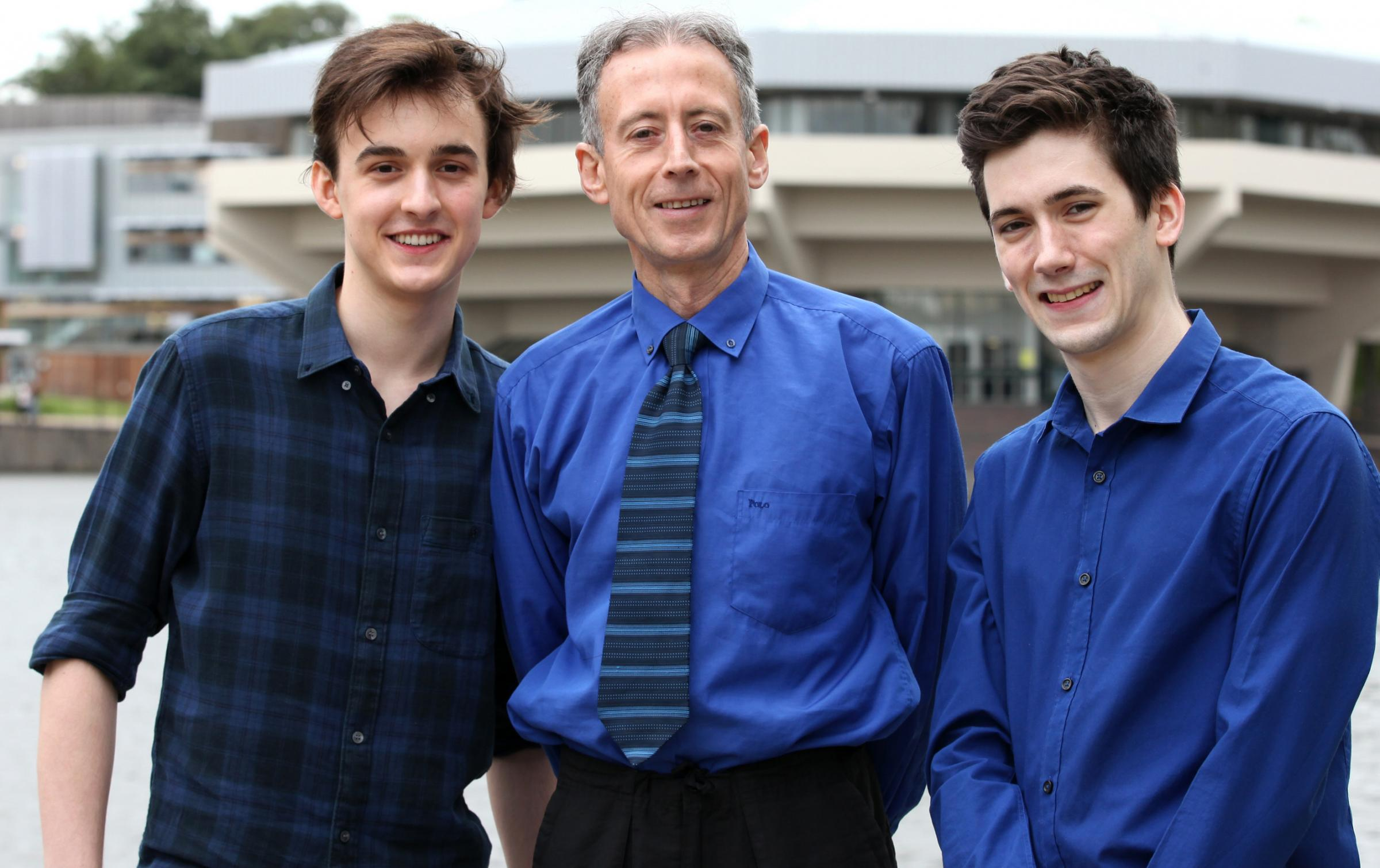 Political campaigner Peter Tatchell at the University of York with students Harry Scoffin, left, of The York Union, and Tom Clark, right, of Derwent College.