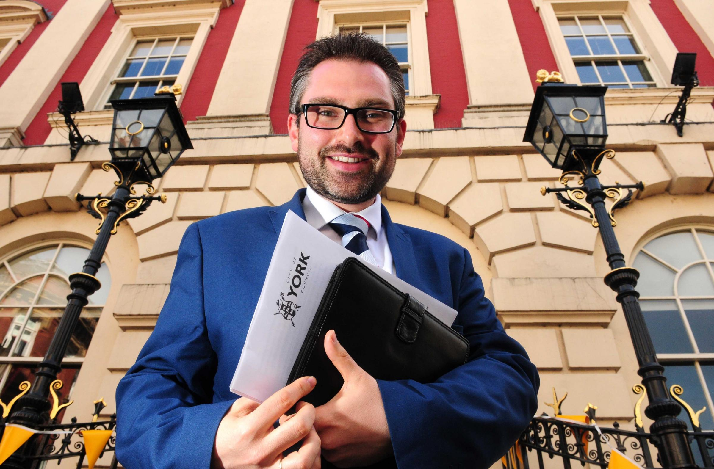 Coun James Alexander pictured ahead of his speach at The Mansion House.