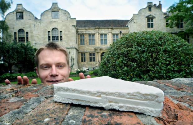 Tom Johnson, house steward at theTreasurer's House, spots one of the ceramic sandwiches in the garden at the National Trust property in York.