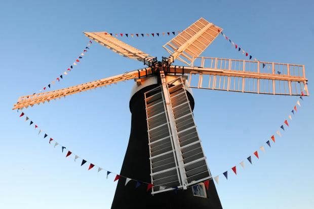 Holgate Windmill which now has bunting for the Grand Depart in York