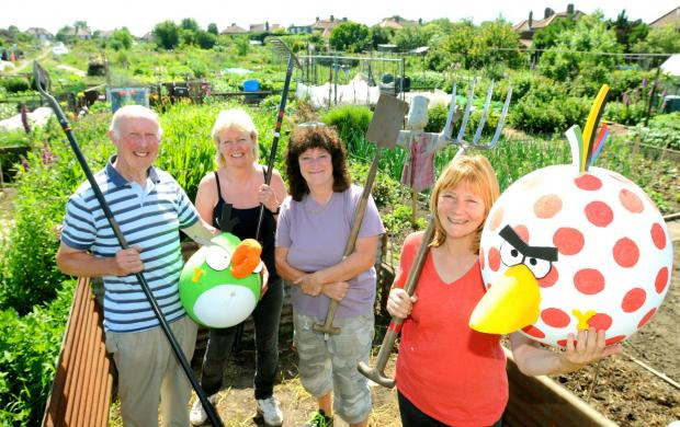 A LOT TOCELEBRATE:Poppleton Road Allotment  holders prepare for their open day today with, from left, Peter Byrne, Jill Berry, Marie Eyeington  and June Coates   Picture: Frank Dwyer