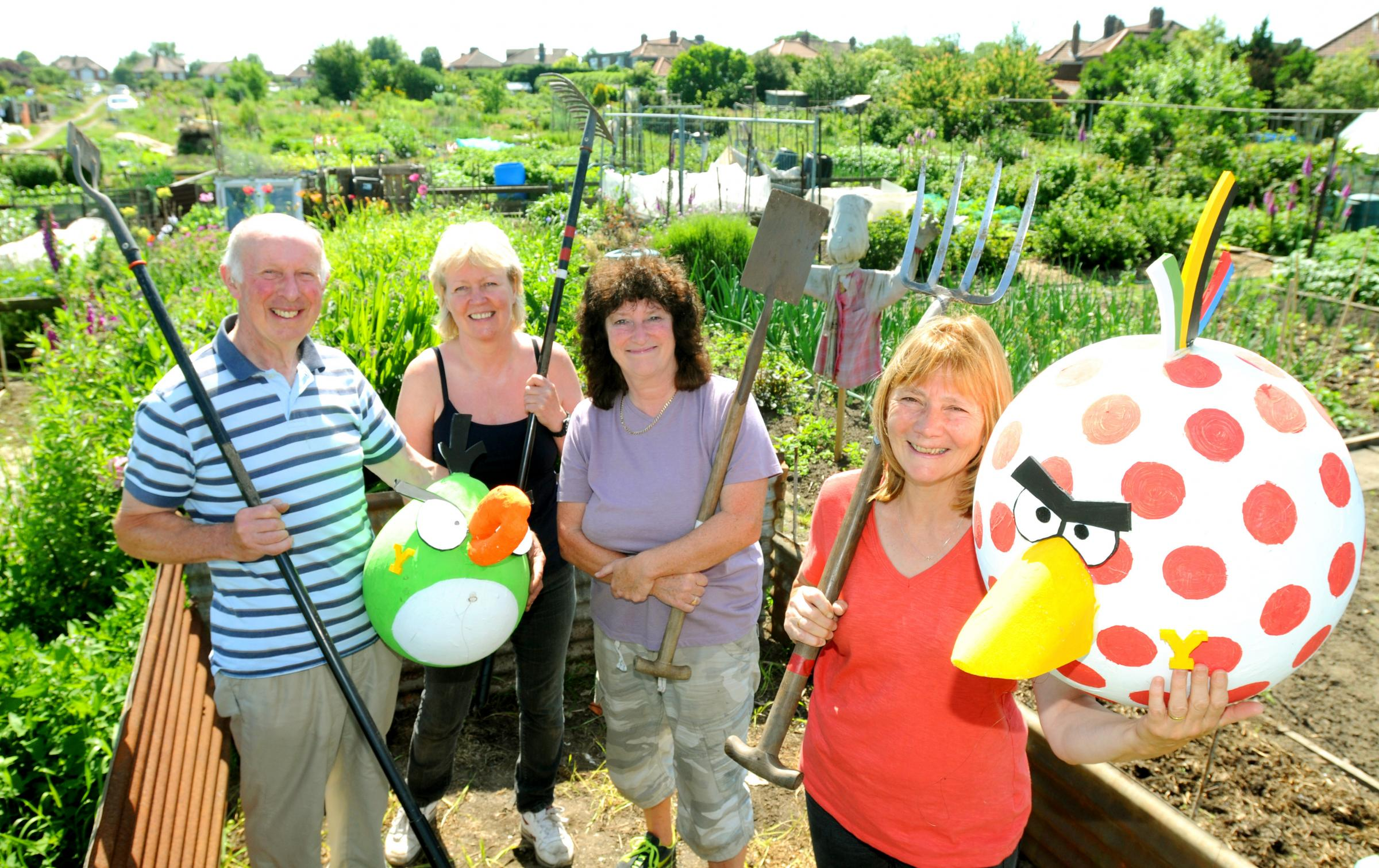 A LOT TOCELEBRATE:Poppleton Road Allotment  holders prepare for their open day today with, from left, Peter Byrne, Jill Berry, Marie Eyeington  and June Co