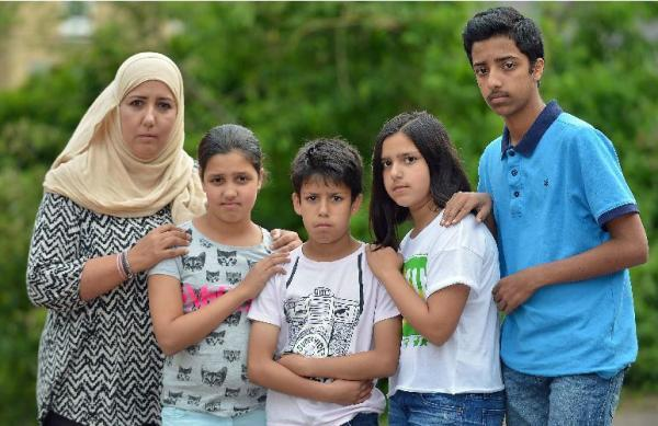 The Malik family who were victims of verbal racial abuse in York. Left to right: Janet Malik-Aziz, Aaisha, Ibrahim, Imaan, & Mikaeel