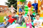 Osbaldwick summer festival organised by the School Association, Head Lesley Barringer and pupils enjoy a go on a bouncy castle.