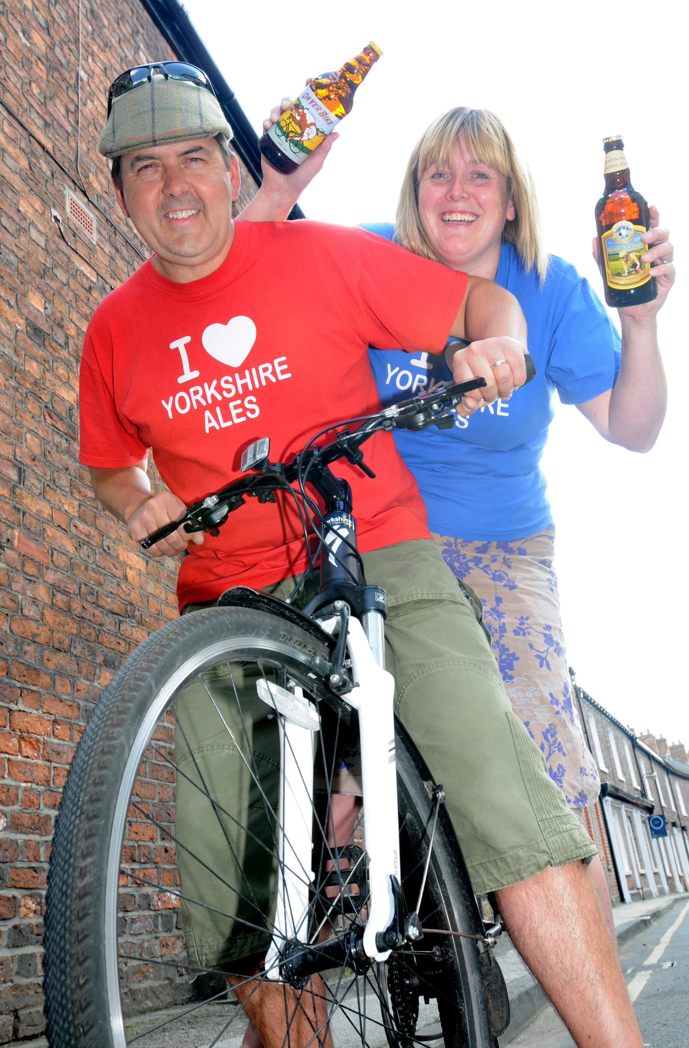Adrian and Vicky Pettitt, from Yorkshire Ales  who have launched beers to commemorate the Yorkshire Grand Depart