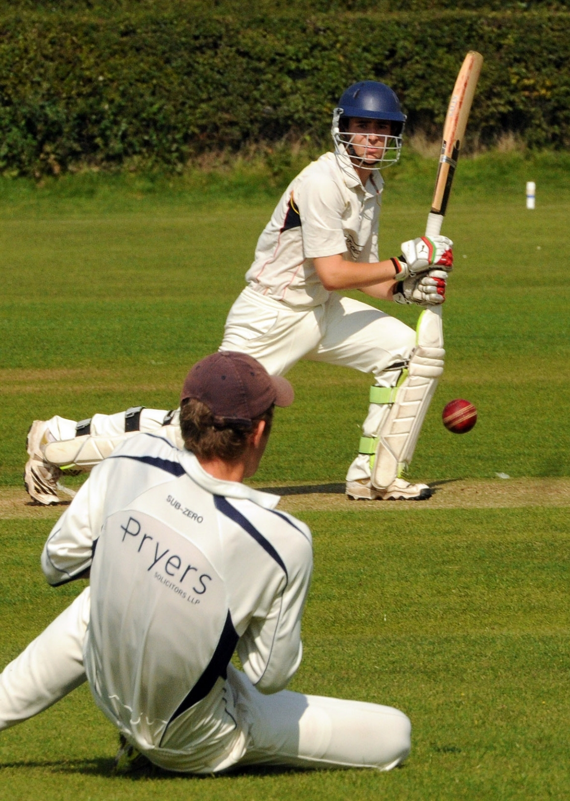 Woodhouse Grange's batsman Mike Hattee gets a let off as Dunnington's George Wilson spills a chance off the bowling of Adam Sutcliffe .
