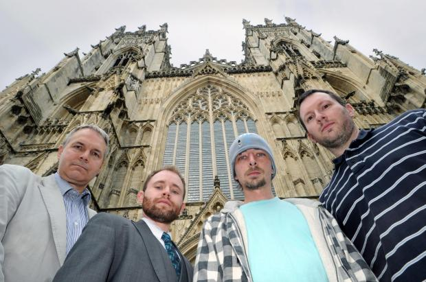 Four of the eight actors who are playing Jesus in the York Mystery Plays (from left) Martin Sheppard, Ehren Mierau, Laurence O'Reilly and John Hoyland, outside York Minster.