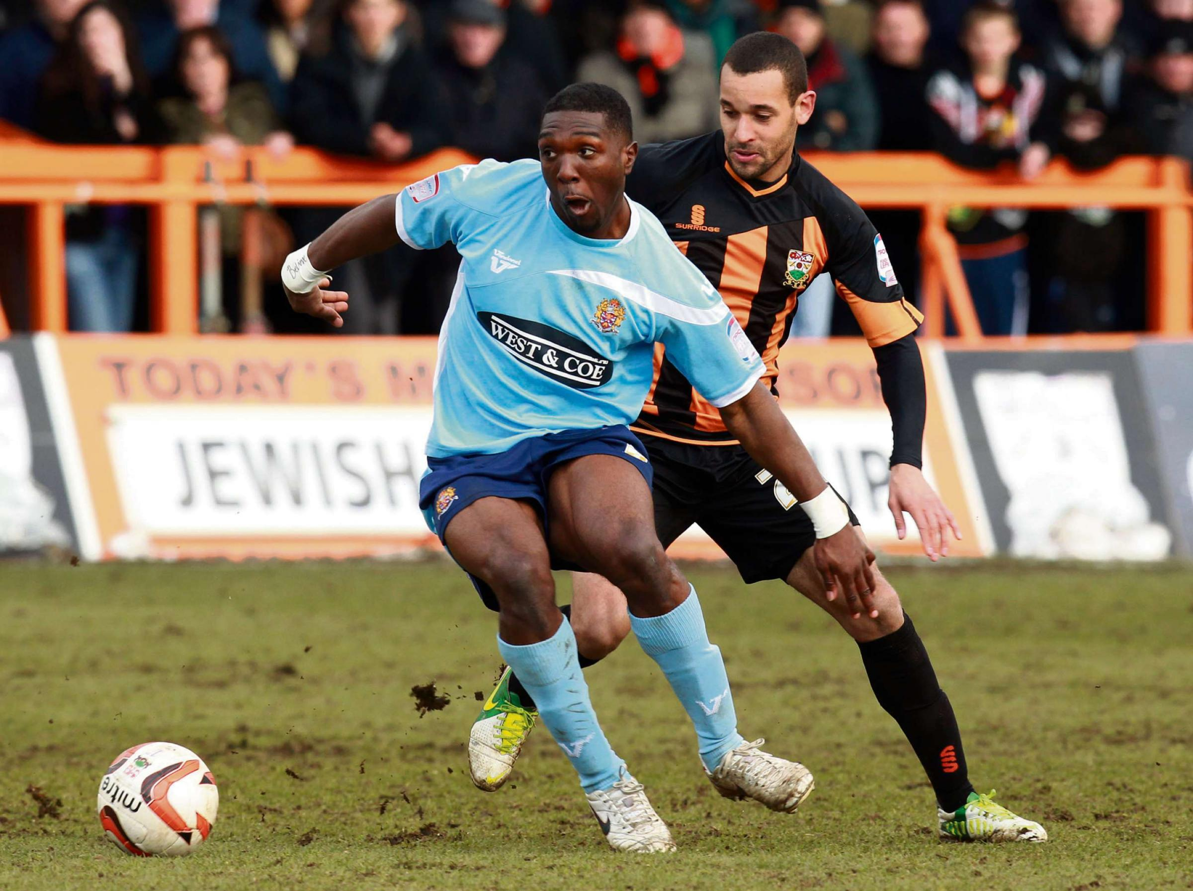 Barnets Curtis Weston (right) and Dagenham's Femi llesanmi battle for the ball during the npower League Two match at the Underhill Stadium, Barnet.