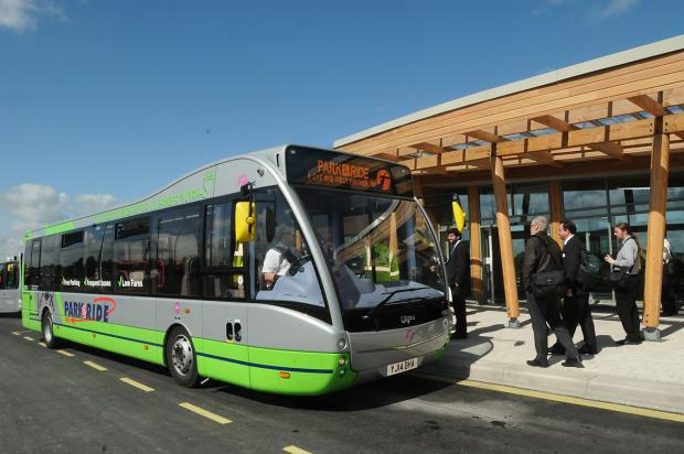 One of the new electric buses at the new Askham Bar Park&Ride site