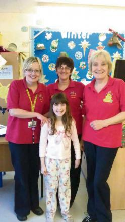 Community Pride nominees from the York Hospital play team. From left - Rosie Botterill, Anthea Dowling and Gill Adams, with nine year old patient Georgina Thompson.