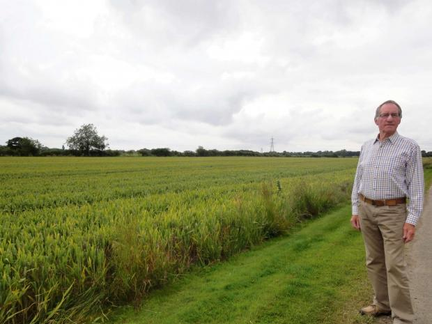 Allan Charlesworth by the land at Earwsick, York, earmarked for housing