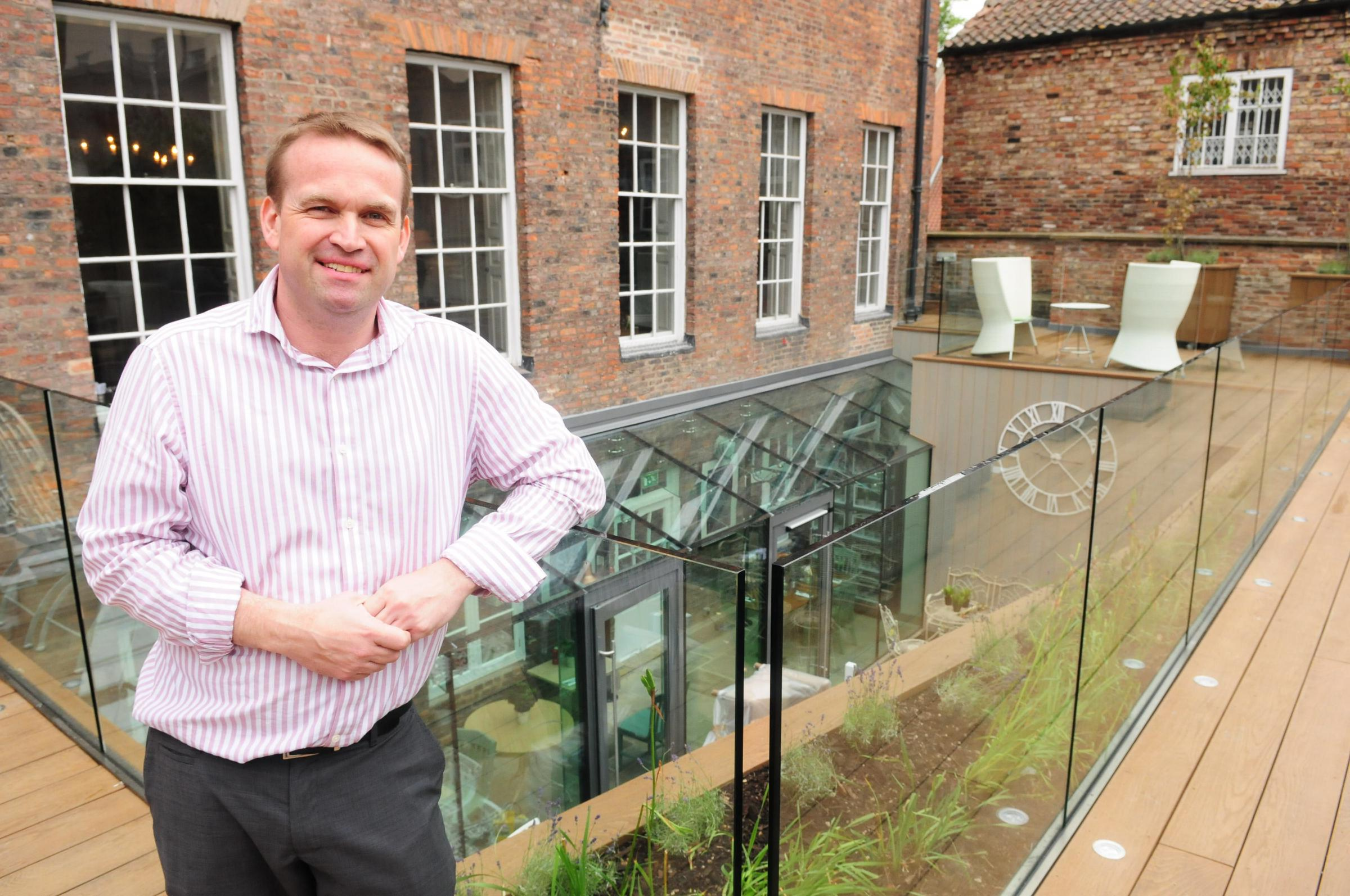 Manager Nick James on the roof terrace at the refurbished Judge's Lodging, in Lendal, York