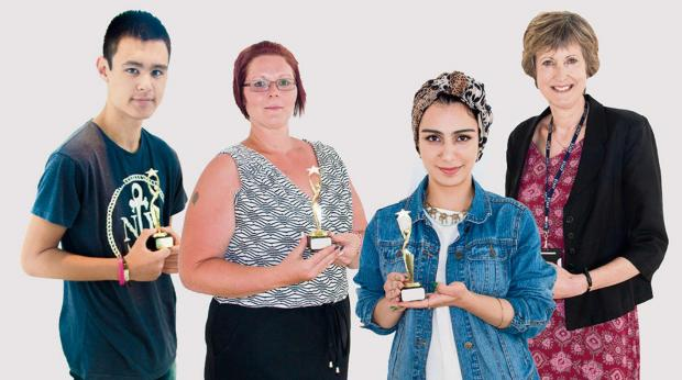 TALENTED:From left, Ashley Grant (Vocational winner), Helen Perry (Adult/Higher Education winner), Reman Sadani  (A-Level winner) and Dr Alison Birkinshaw, Principal of York College, who presented the awards