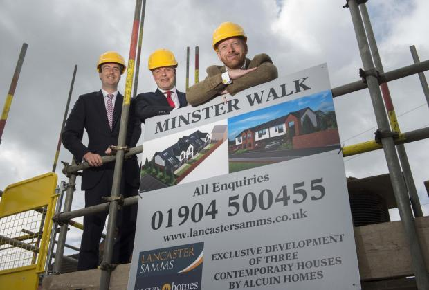 From left are Lancaster Samms directors, Charlie Lancaster and Neil Samms and Alcuin Homes director, Richard Marchant, on site at Alcuin Homes' Minster Walk scheme.