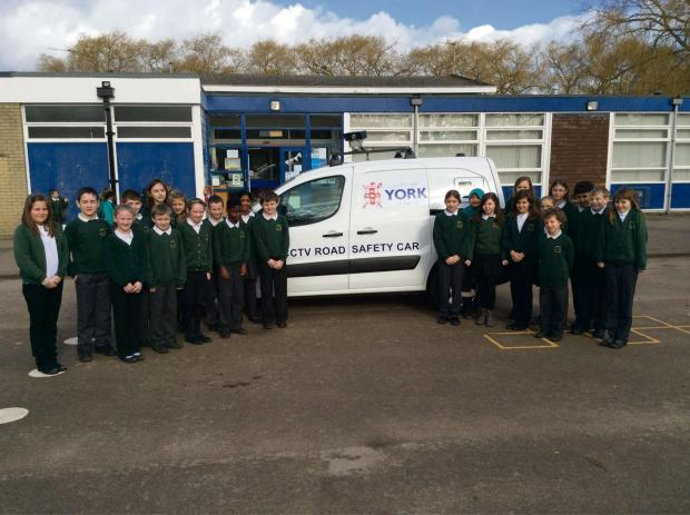 The Road Safety Camera Car outside Badger Hill school