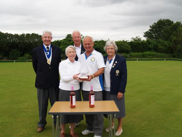 PRIZE PRESENTATION: Wigginton Bowls Club's two-wood pairs and strawberry tea competition, from left, president Michael Haseltine, winner Doreen Kilgour, captain Michael Wadsworth, winner Barrie Shipley and chairman Jean Millar