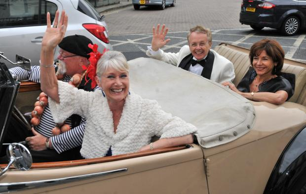 Former BBC newsreader Jan Leeming and Yorkshire Air Museum director Ian Reed arrive at the De Grey Rooms