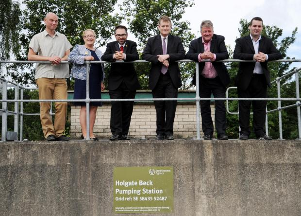 York Central MP Hugh Bayely and Holgate councillors James Alexander, Sonja Crisp and Joe Riches see the flood defence upgrade