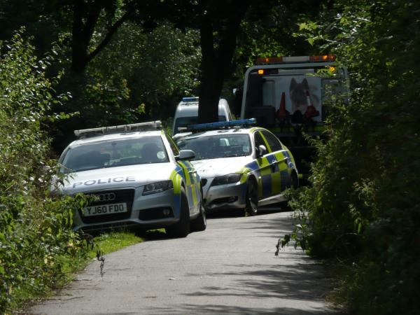 Police car crashes into beck in York
