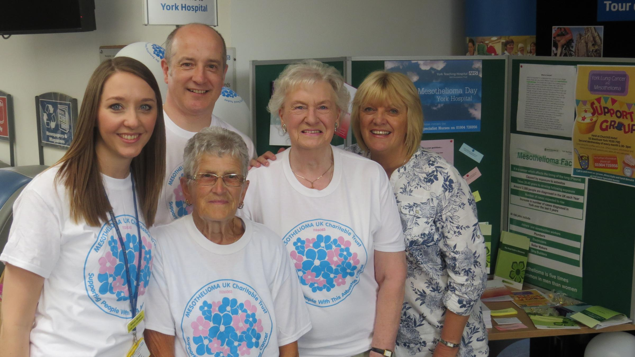 At the action day are, from left, lung cancer care specialist nurse Alison Moore, Mark Aldridge, from Irwin Mitchell, supporters Margaret Rudder and Jean Stockdale and specialist nurse Jo Love