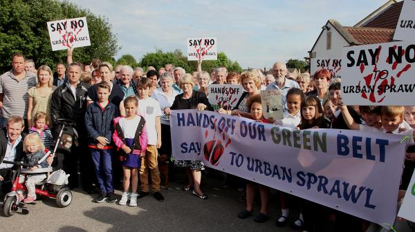 Earswick residents who are protesting about new homes planned in the area