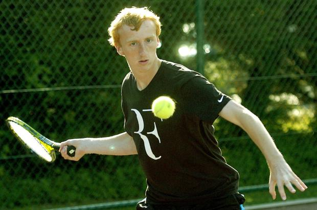 Nick Turnbull in action at Poppleton Tennis Club.