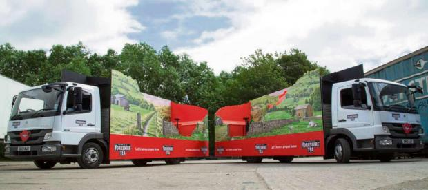 The Yorkshire tea publicity trucks that Stage One helped build for the Tour de France