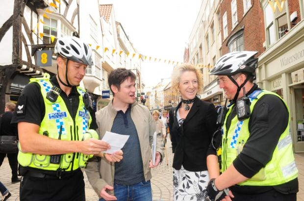 Sgt Andy Godfrey, Richard Whittaker of Salvation Army, Cllr Tracey Simpson-Laing and PCSO Colin Martin, at the start of a Begging initiative, pictured on Coney Street.
