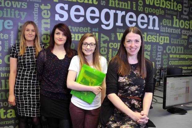 Director Anne Taylor (front) with See Green's new starters (l-r) Katie Burnside, Evie Lees, Emilie Brown.