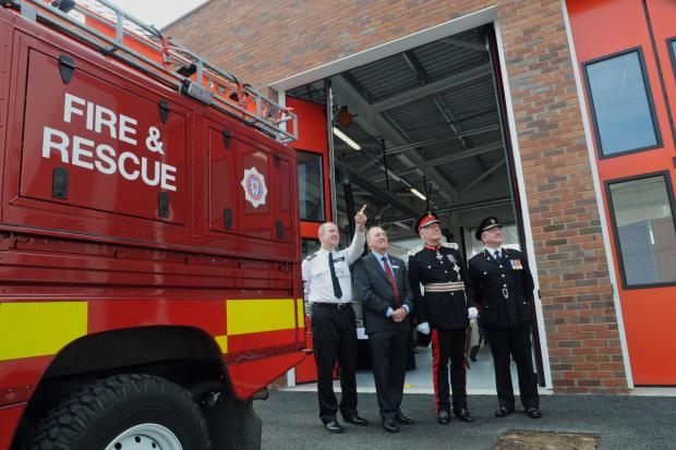At the official opening of the new Fire station, in Kent Street, (from left) Group Commander David Dryburgh, Cllr Ken King, Lord Crathorne, The Lord Lieutenant of North Yorkshire, and Chief Fire Officer Nigel Hutchinson.
