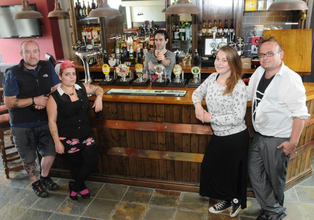 The newly refurbished Fulford Arms with, from left, Rob Abbey, Steph Collinson, Chris Tuke, Ellie Cox and Chris Sherrington
