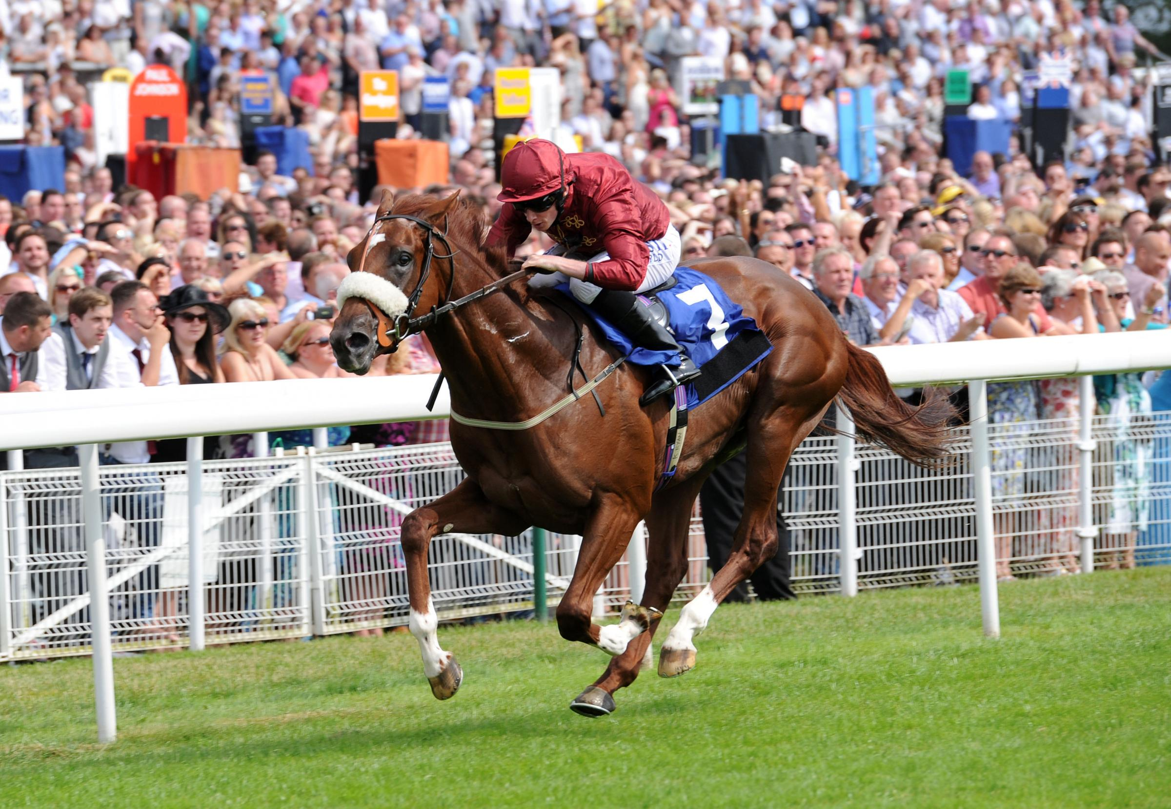 Flaming Spear, ridden by Ryan Moore, wins the John Smith's Median Auction Maiden Stakes on John Smith's Cup day at York Racecourse. Picture: Anna Gowthorpe/PA Wire