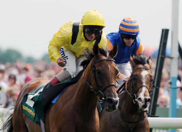 Farraaj, ridden by Andrea Atzeni, wins the 55th John Smith's Cup at York.   Picture: Anna Gowthorpe/PA Wire