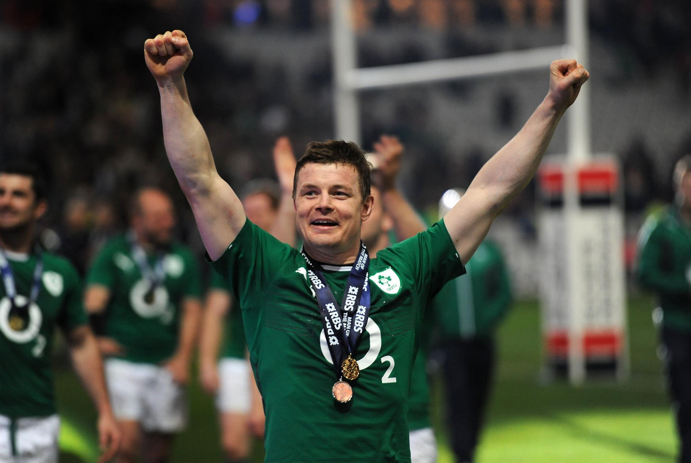 Brian O'Driscoll celebrating another great conquest in the green jersey of his native Ireland