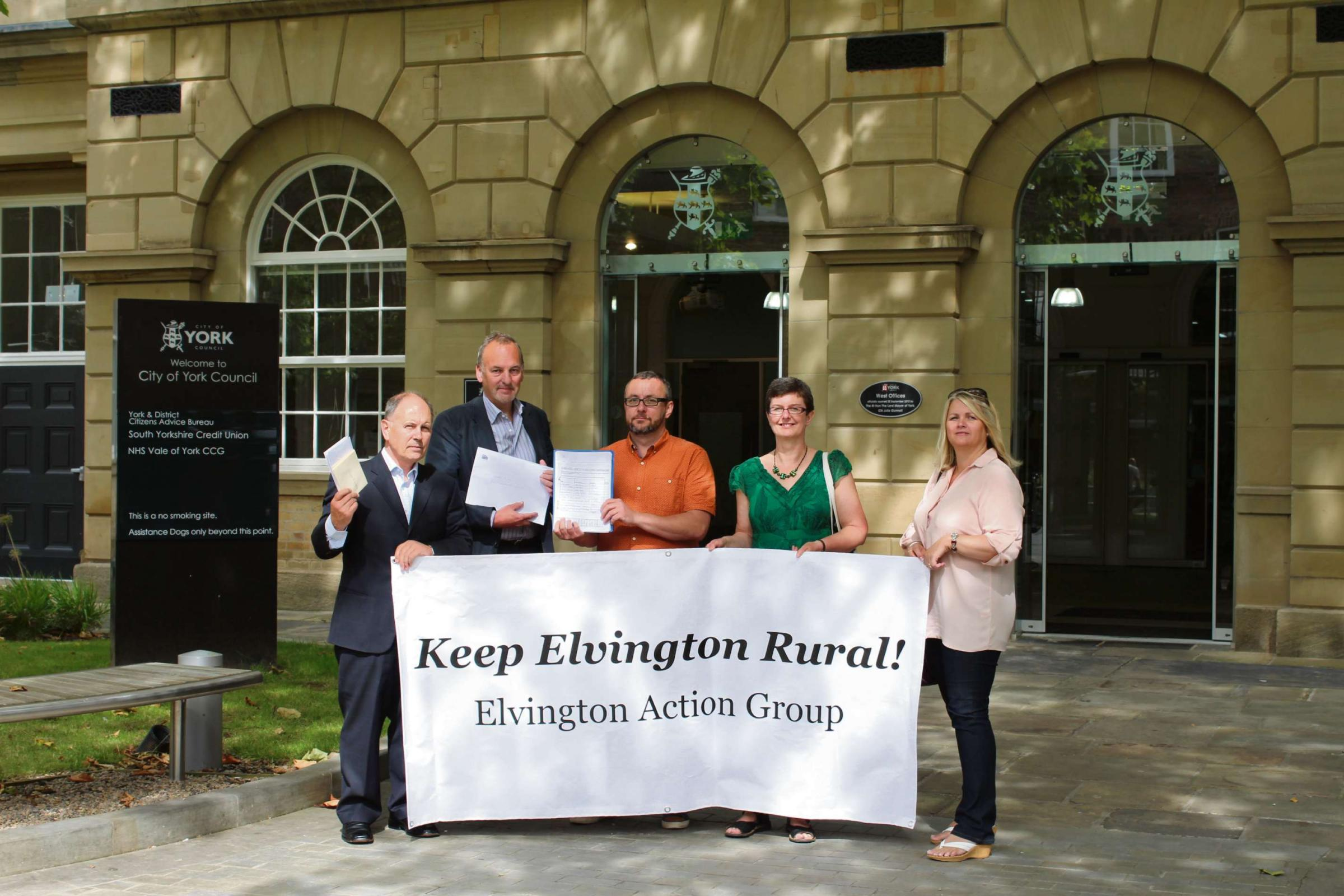 From left, Elvington campaigners, John Gallery Philip Brown, Martin Povey, Jo Wedgewood and Beverly Flatt