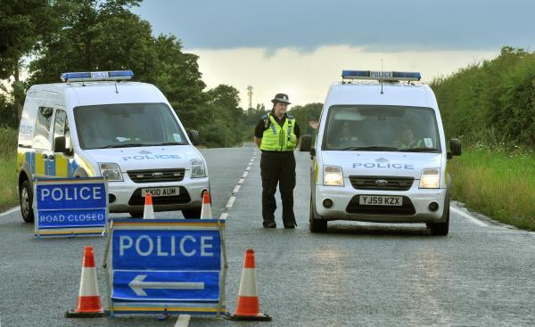 Police close the A19 near Shipton after a collison between a car and a bus