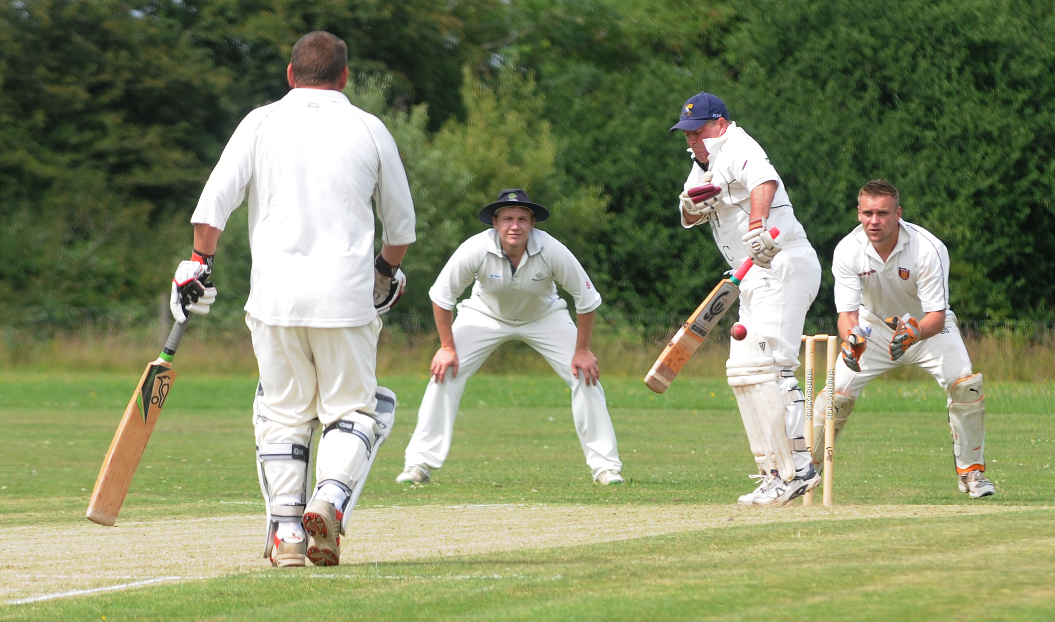 A close call for Stockton & Hopgrove batsman Steve Fraser off the bowling of North Cave's Karl Youngman