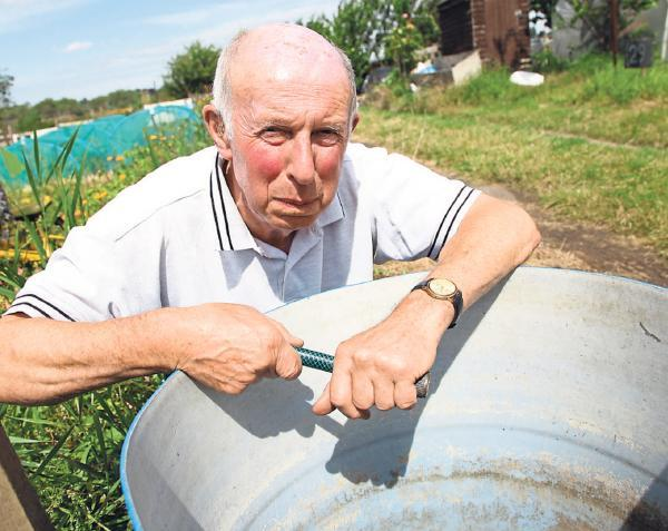 Peter Byrne, the chairman of the Poppleton Road Allotment Committee, fed up because the water is running dry on the allotments after thieves stole brass taps which meant the water supply had to be turned off