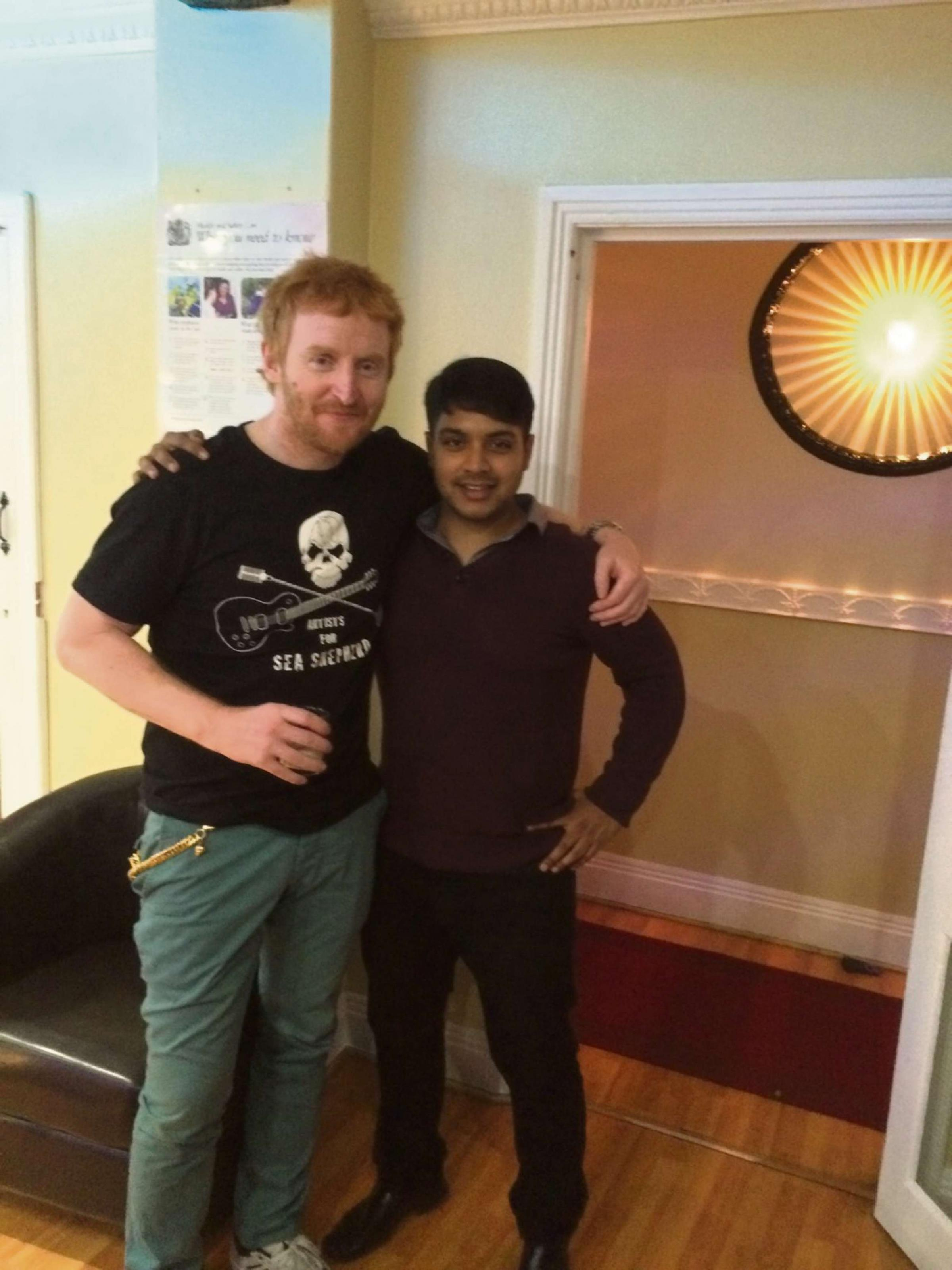 Actor Tony Curran with Raj Ahmed after enjoying a meal at The Raj restaurant in York