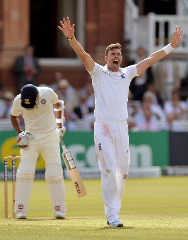 England's James Anderson celebrates taking the wicket of India's Stuart Binney during the current second Test at Lord's