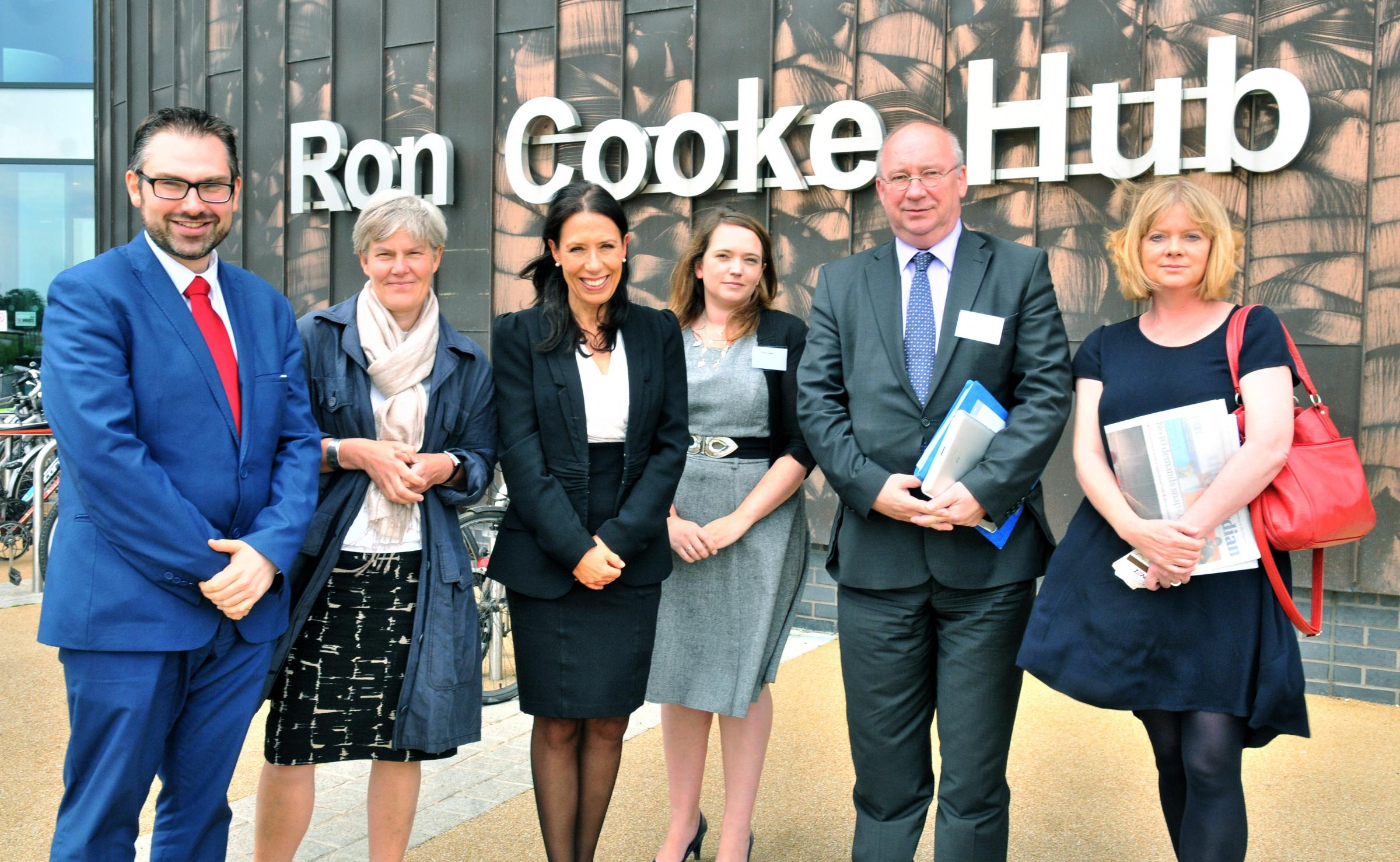 From left, Cllr James Alexander, Kate Green MP, Debbie Abrahams MP, Sophie Jowett, Henk Kool, vice mayor of social affairs,employment and economy in the Netherlands, and professor Kate Pickett of York University