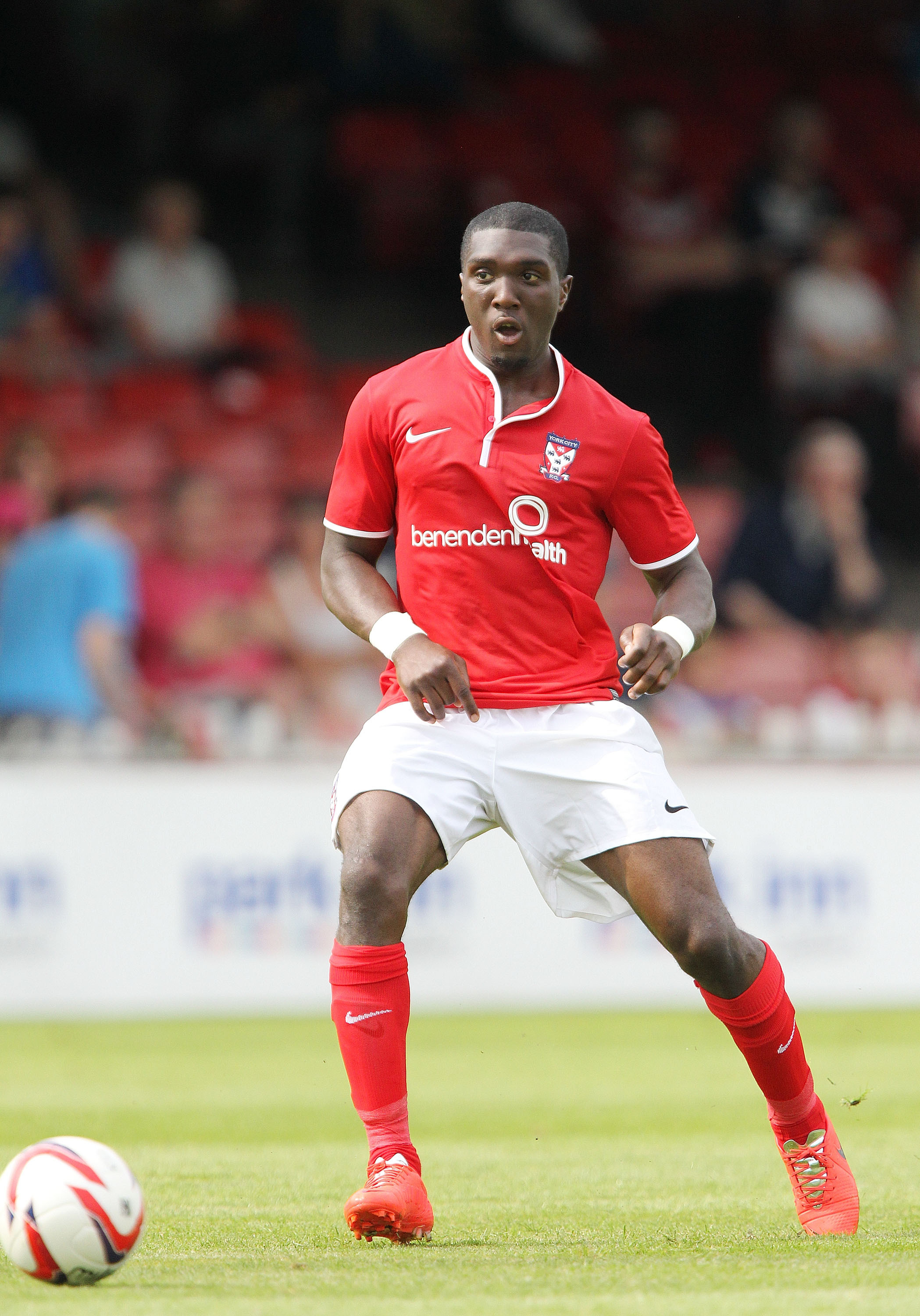 Femi Ilesanmi in pre-season friendly action for York City against Sheffield Wednesday at Bootham Crescent