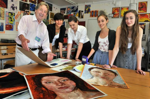 Alan Stuttle with Huntington School pupils Mathilda Mancey-Jones, Emily Roberts, Kezia Hulse and Beth Jakeman