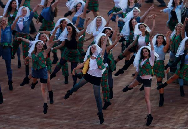 Dancers perform at last night's opening ceremony of the Commonwealth Games at Celtic Park in Glasgow