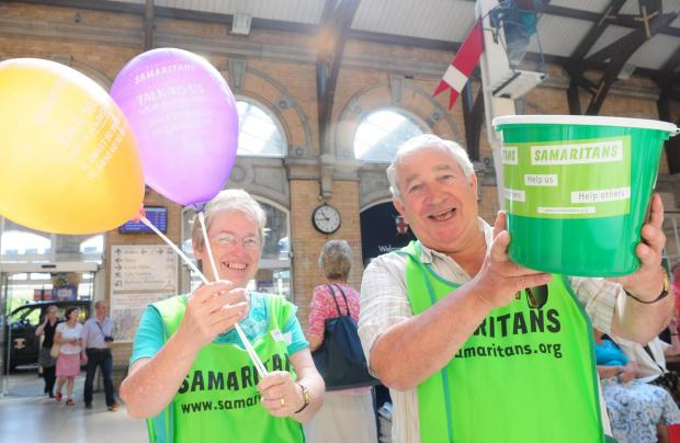 Samaritans volunteers Marion and Rodge at York Station