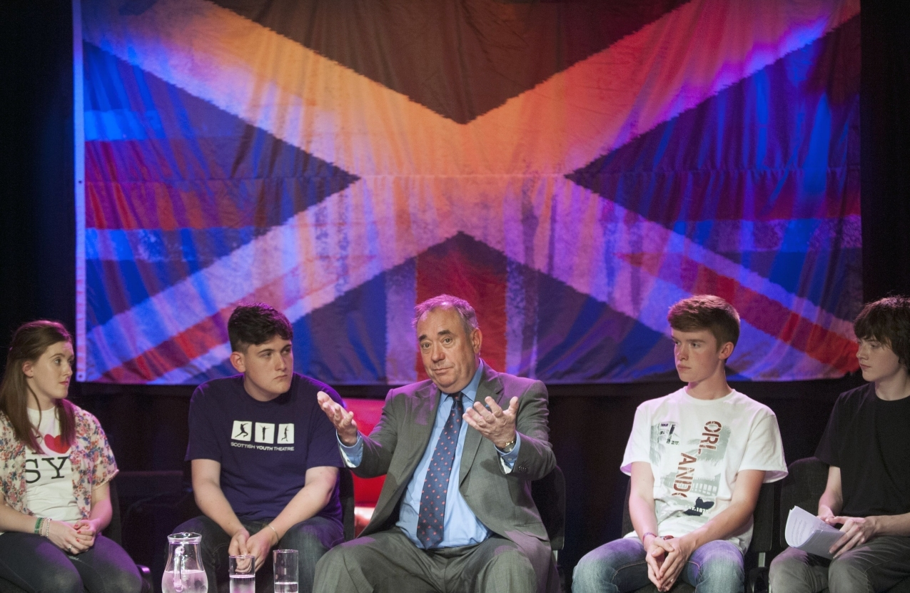 Scotland's First Minister Alex Salmond holds a Q&A session during a visit to the Scottish Youth Theatre in Glasgow