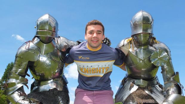 York City Knights player Pat Smith with Knights in Armour