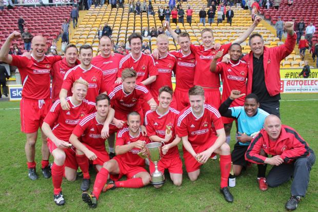 Knaresborough Town celebrate their League Cup triumph