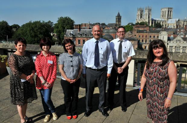 Ellie Fiorentini with guests at York Cares, from left, Angela Fenton, Rachel Jones, Jane Cullen, Nigel Smith and Graham Lawson