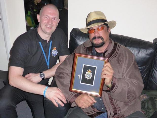 North Yorkshire PC Steven Armitage, based in Eggborough, with Steven Seagal